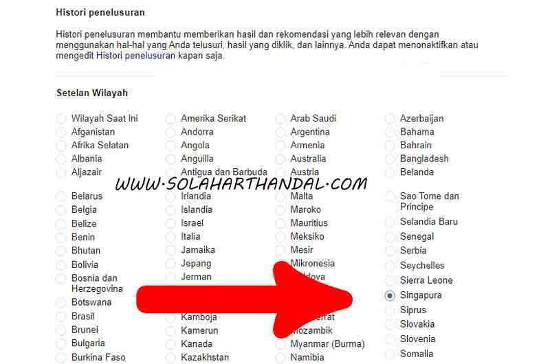 Setelan Wilayah cara masuk ke google singapura